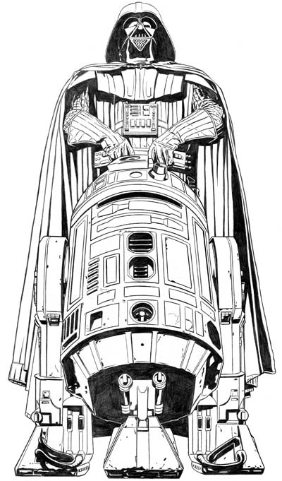 Vader and R2-D2 Pencil Art